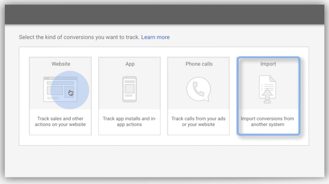 Google conversion import screen