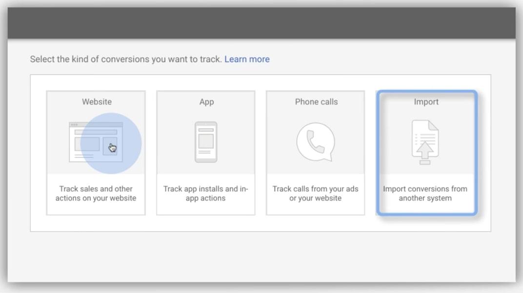 Google conversion import screen